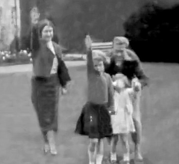 WATER MARK REMOVED BY DM ** THE SUN WORLD EXCUSIVE 18th July 2015** THE Queen and Queen Mum raise a Nazi salute in an astonishing home movie shot at Balmoral and seen today for the first time. The film shows the then Princess Elizabeth, just seven, larking about in 1933. Also in frame Princess Margaret and Prince Edward (later Edward VIII)